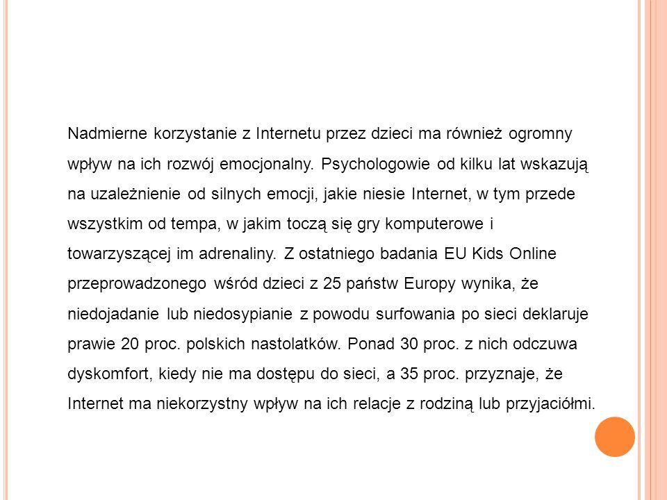 Nadmierne korzystanie z Internetu przez dzieci ma również ogromny wpływ na ich rozwój emocjonalny.