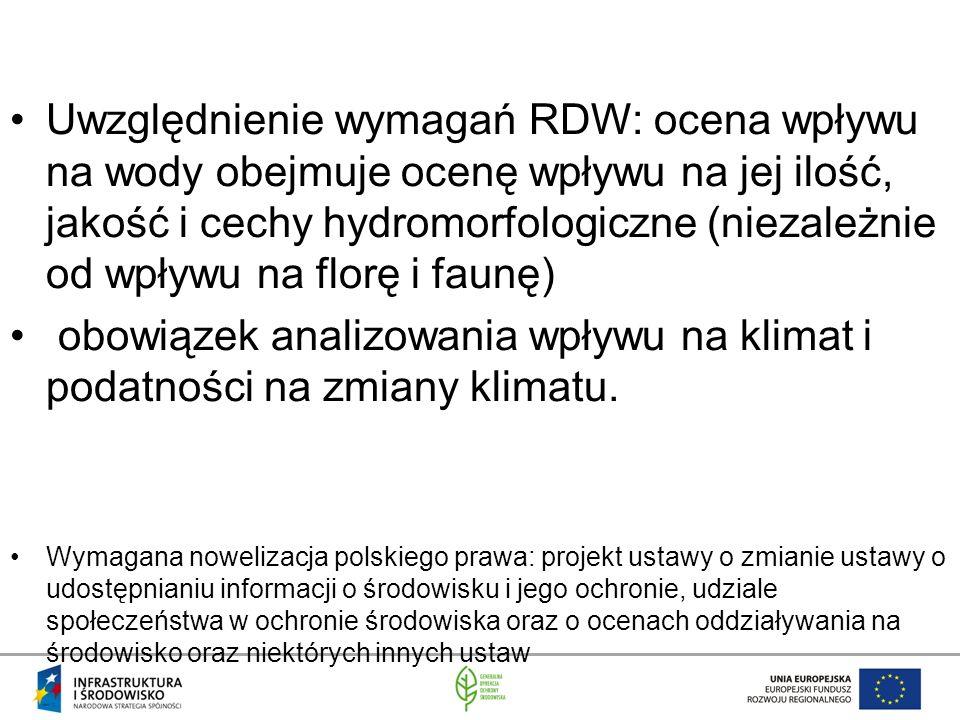 Uwzględnienie wymagań RDW: ocena wpływu na wody obejmuje ocenę wpływu na jej ilość, jakość i cechy hydromorfologiczne (niezależnie od wpływu na florę i faunę)