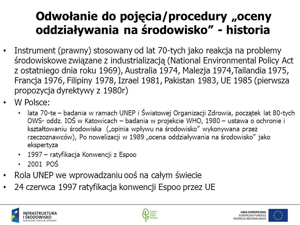 """Odwołanie do pojęcia/procedury """"oceny oddziaływania na środowisko - historia"""
