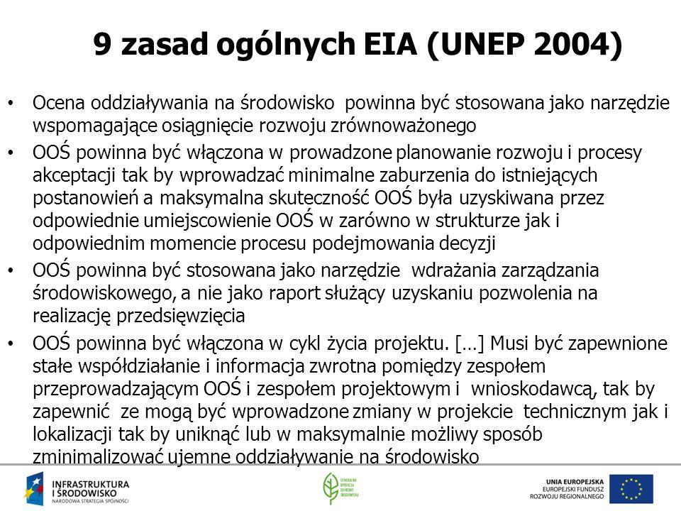 9 zasad ogólnych EIA (UNEP 2004)