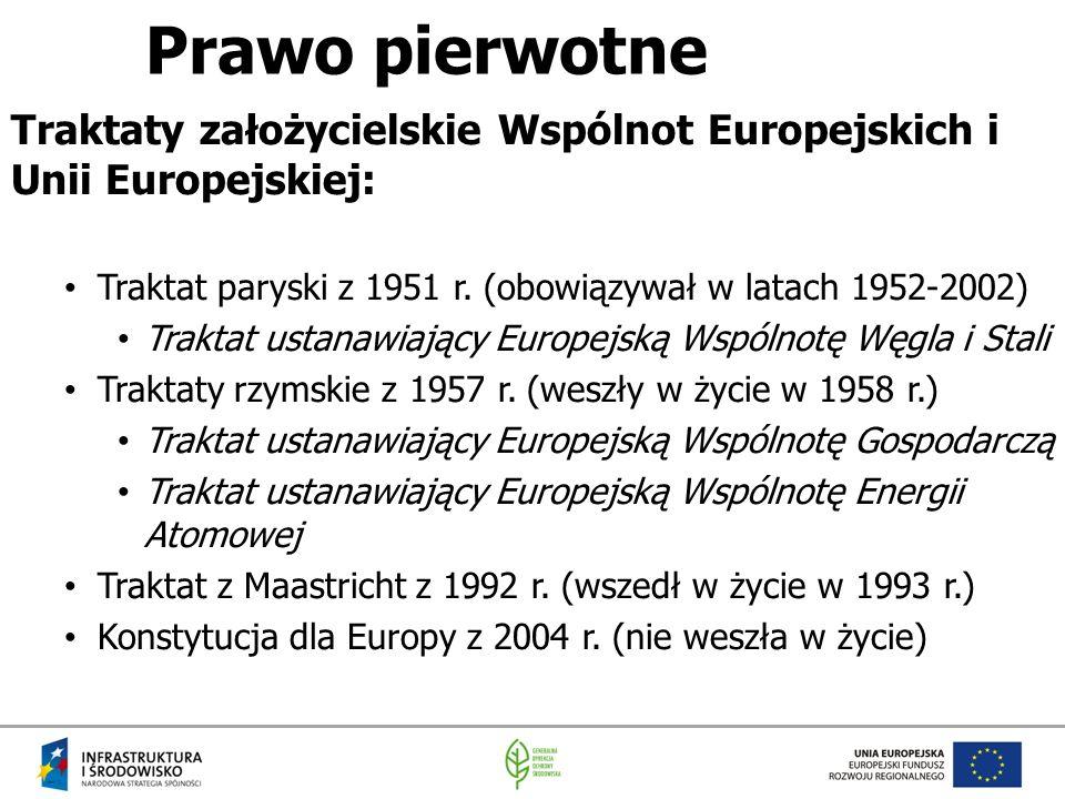 Prawo pierwotne Traktaty założycielskie Wspólnot Europejskich i Unii Europejskiej: Traktat paryski z 1951 r. (obowiązywał w latach 1952-2002)