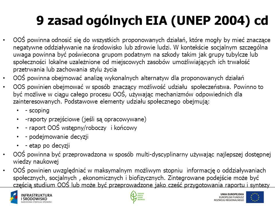 9 zasad ogólnych EIA (UNEP 2004) cd