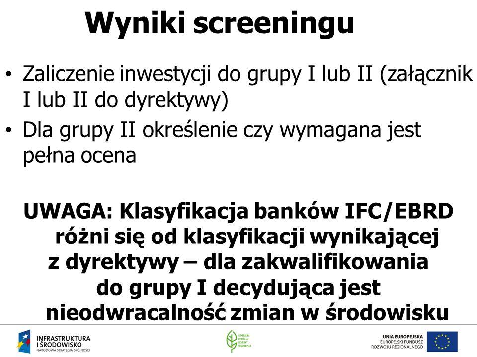 Wyniki screeningu Zaliczenie inwestycji do grupy I lub II (załącznik I lub II do dyrektywy) Dla grupy II określenie czy wymagana jest pełna ocena.
