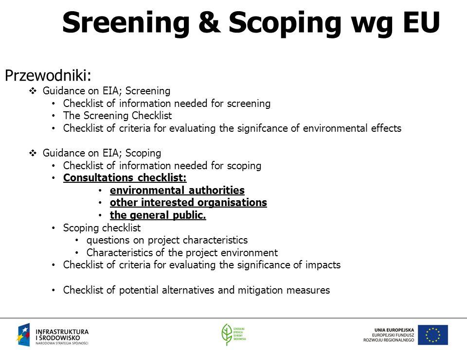 Sreening & Scoping wg EU