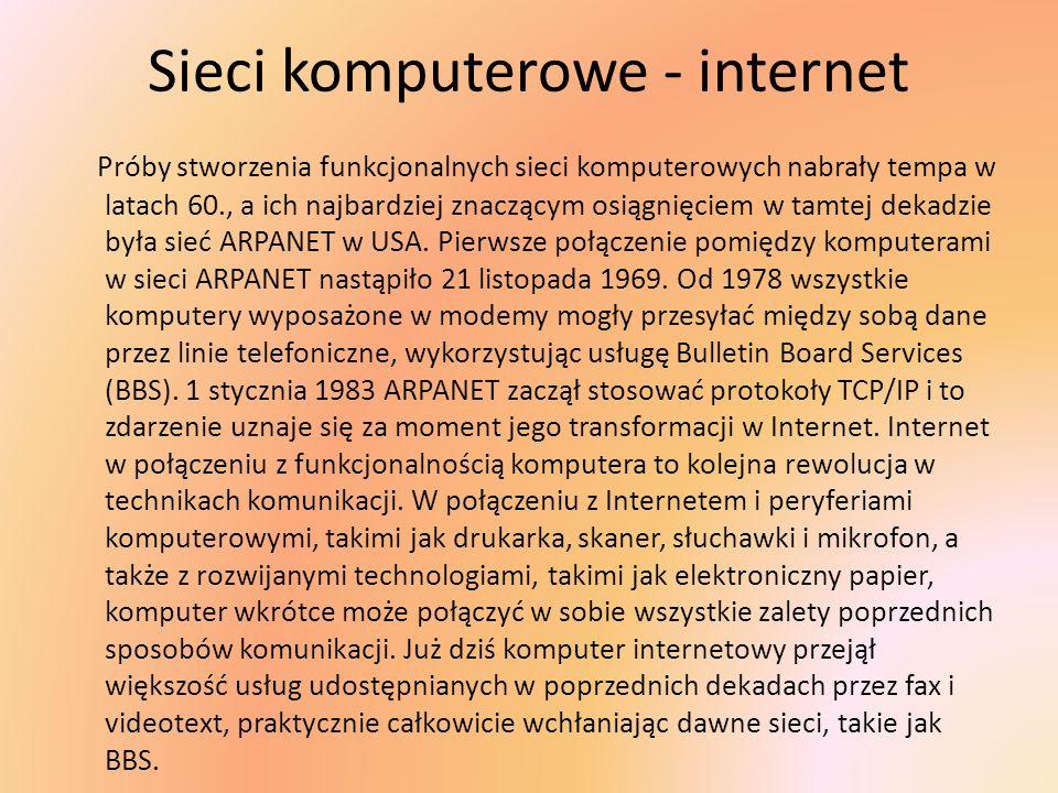 Sieci komputerowe - internet