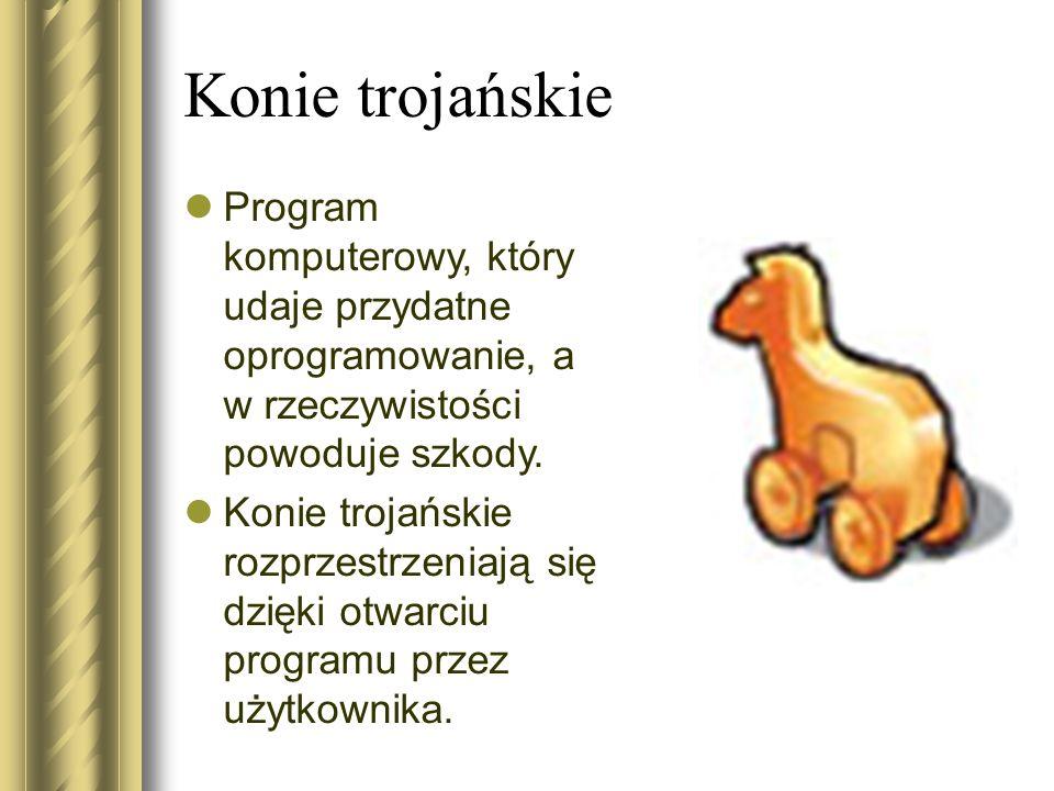 Konie trojańskie Program komputerowy, który udaje przydatne oprogramowanie, a w rzeczywistości powoduje szkody.