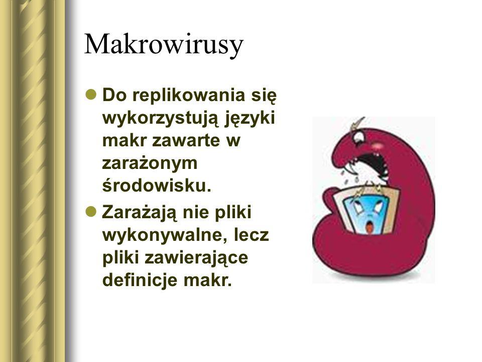 Makrowirusy Do replikowania się wykorzystują języki makr zawarte w zarażonym środowisku.