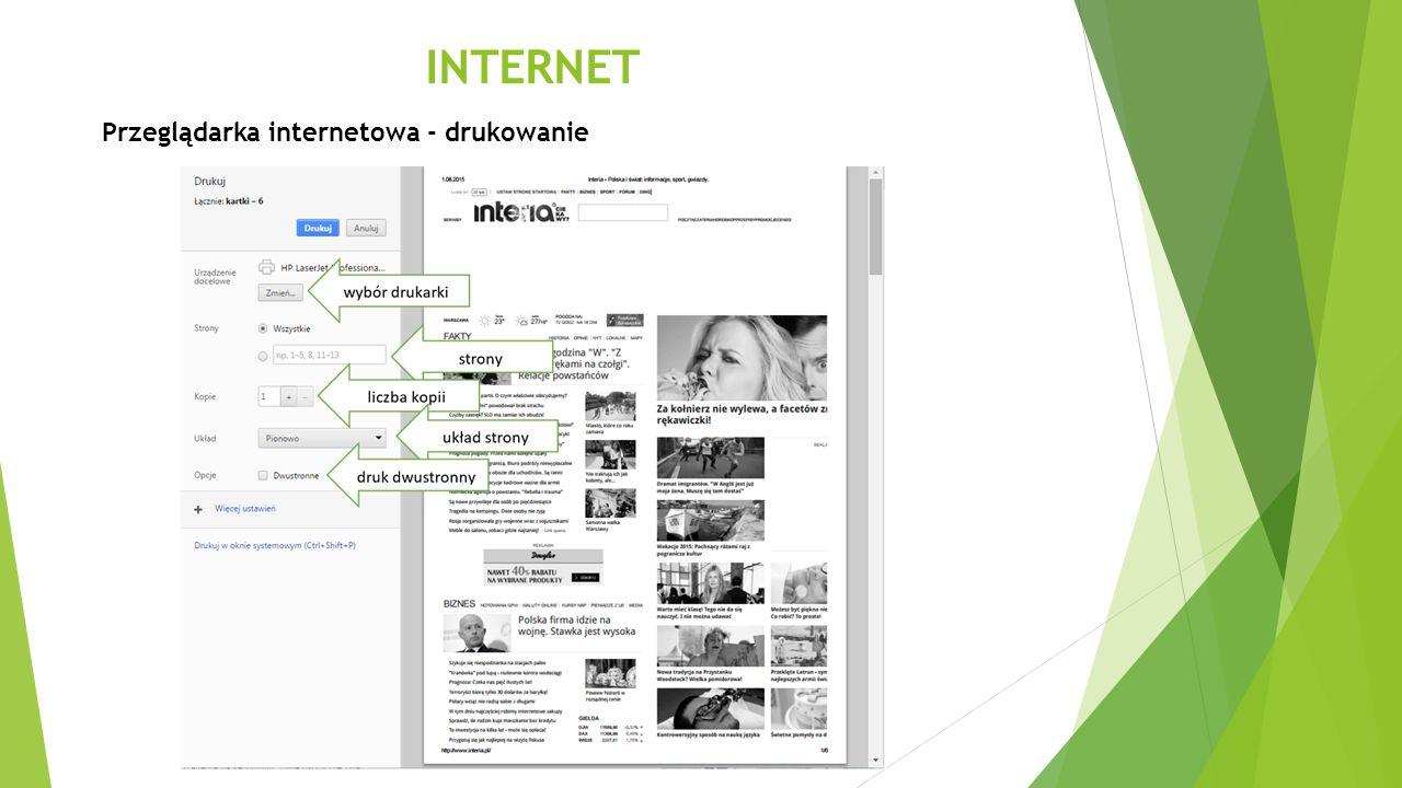 INTERNET Przeglądarka internetowa - drukowanie