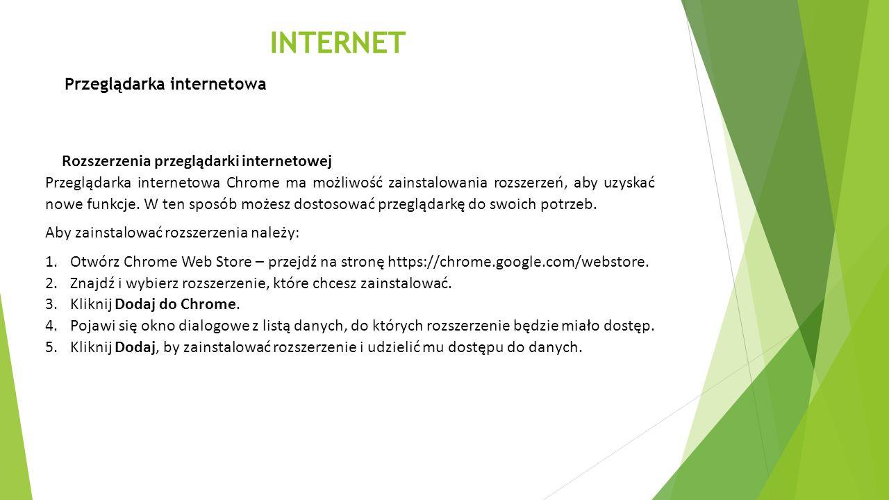 INTERNET Przeglądarka internetowa