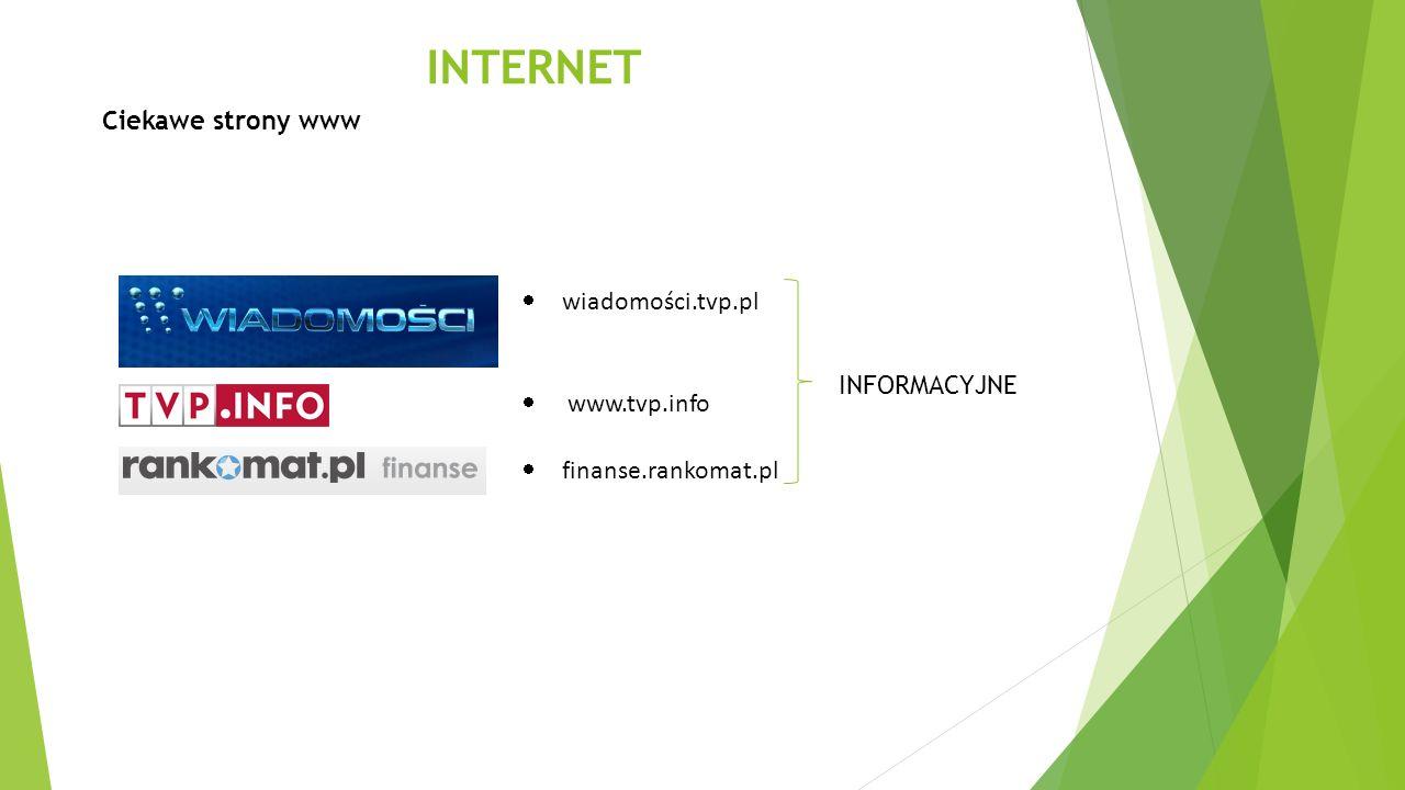 INTERNET Ciekawe strony www wiadomości.tvp.pl www.tvp.info