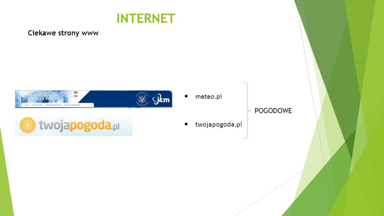 INTERNET Ciekawe strony www meteo.pl twojapogoda.pl POGODOWE