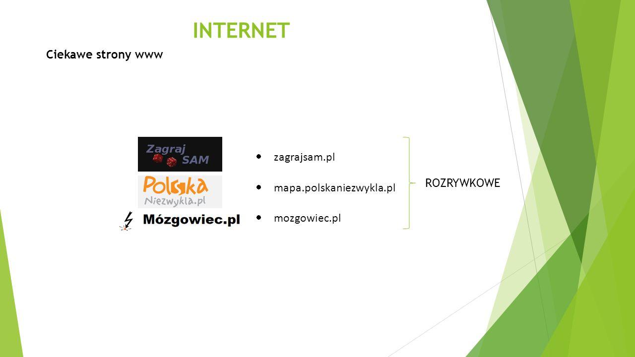 INTERNET Ciekawe strony www zagrajsam.pl mapa.polskaniezwykla.pl