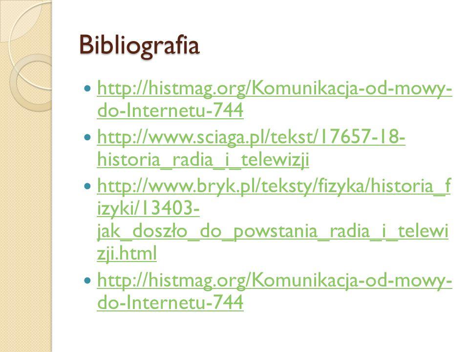 Bibliografia http://histmag.org/Komunikacja-od-mowy- do-Internetu-744