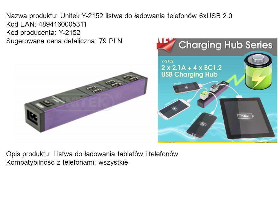 Nazwa produktu: Unitek Y-2152 listwa do ładowania telefonów 6xUSB 2.0