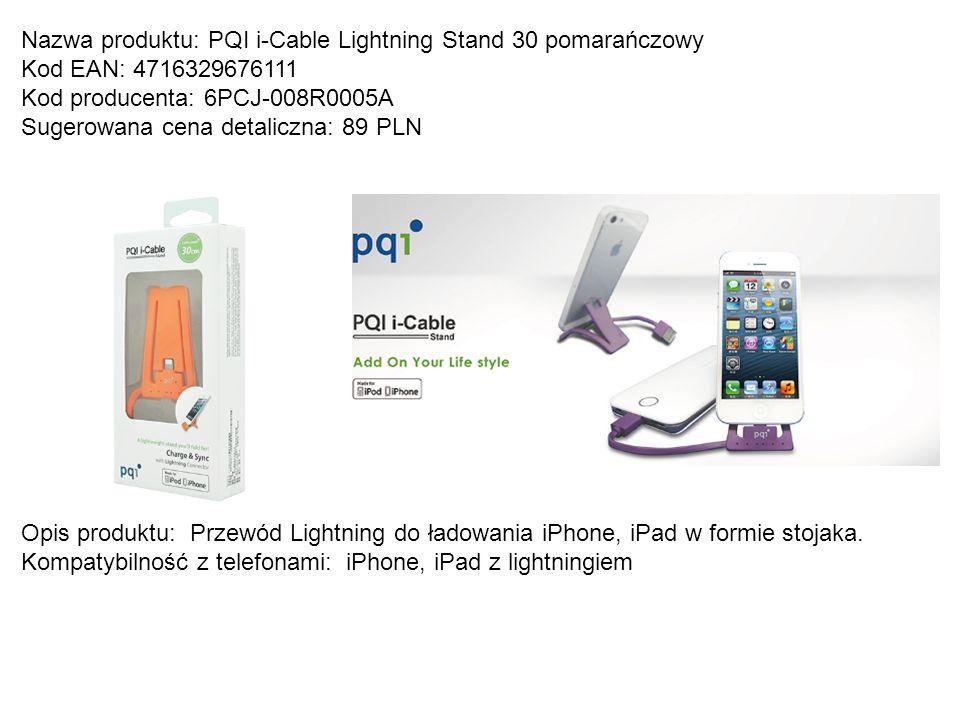 Nazwa produktu: PQI i-Cable Lightning Stand 30 pomarańczowy