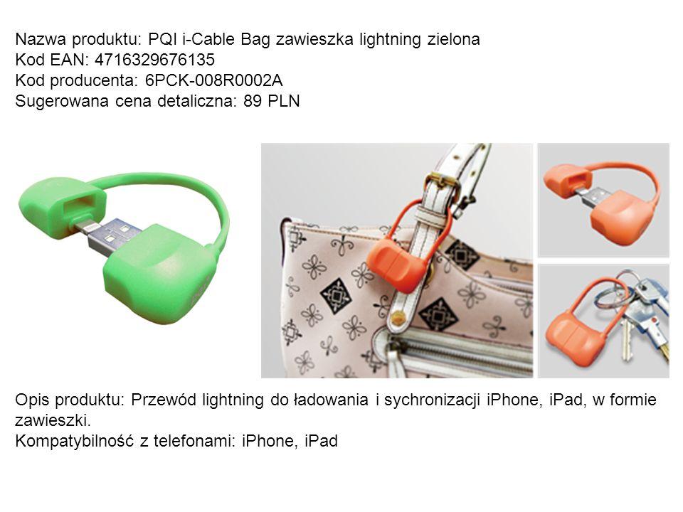 Nazwa produktu: PQI i-Cable Bag zawieszka lightning zielona