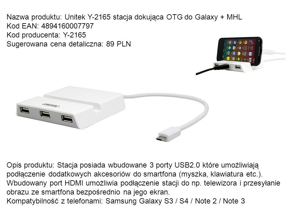 Nazwa produktu: Unitek Y-2165 stacja dokująca OTG do Galaxy + MHL