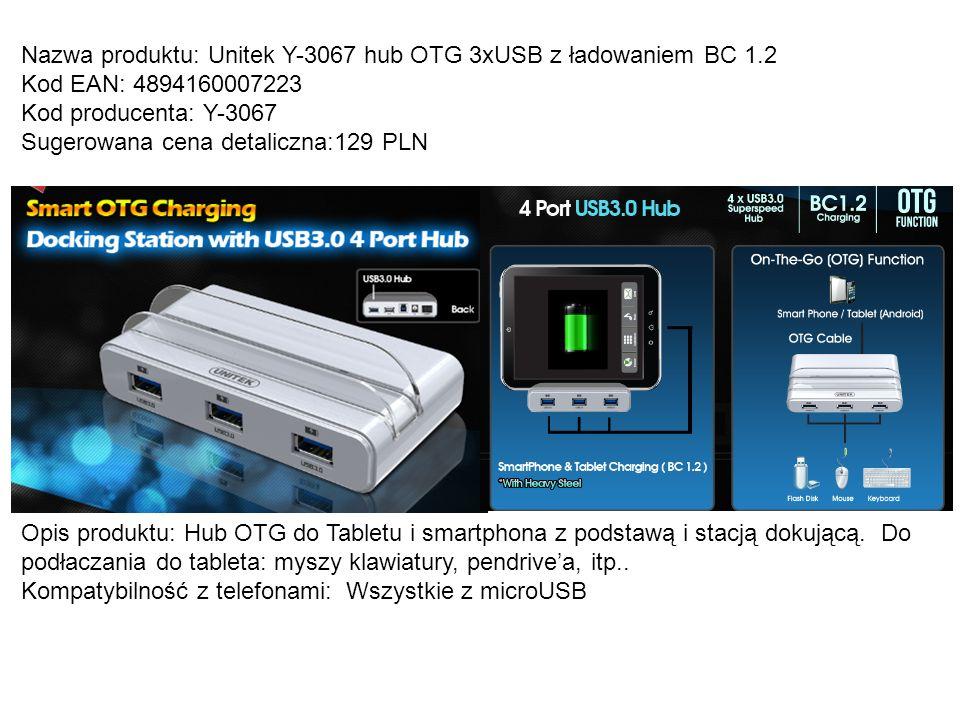 Nazwa produktu: Unitek Y-3067 hub OTG 3xUSB z ładowaniem BC 1.2