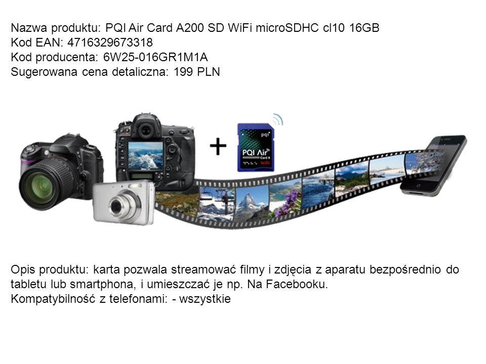 Nazwa produktu: PQI Air Card A200 SD WiFi microSDHC cl10 16GB