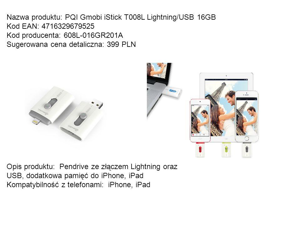 Nazwa produktu: PQI Gmobi iStick T008L Lightning/USB 16GB