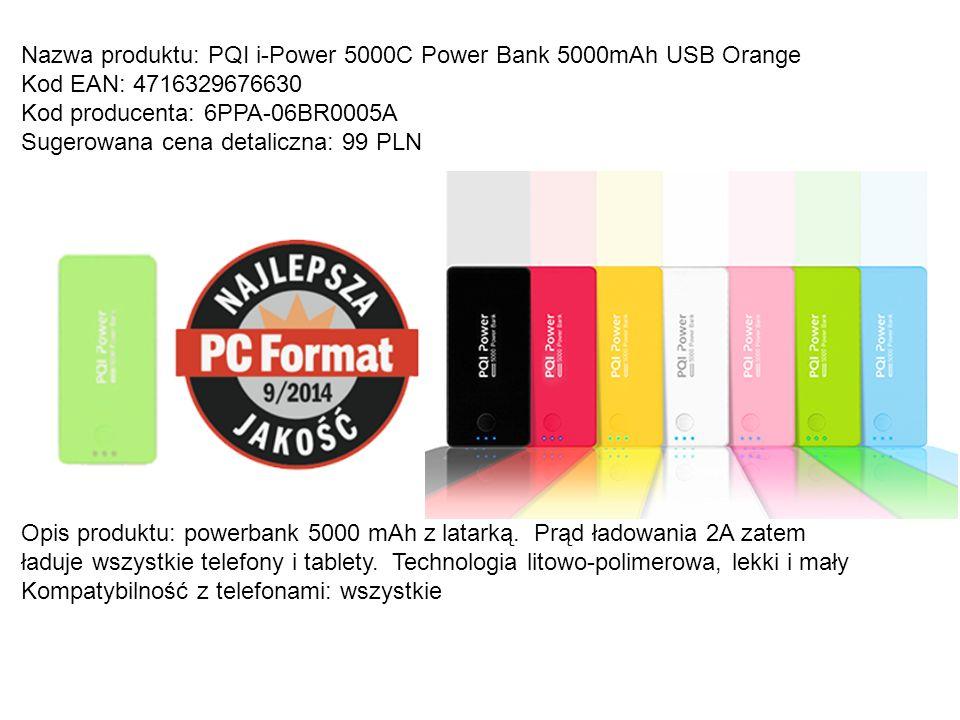 Nazwa produktu: PQI i-Power 5000C Power Bank 5000mAh USB Orange