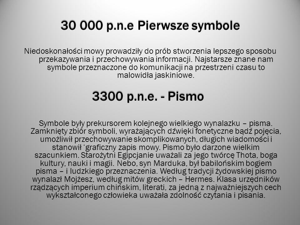 30 000 p.n.e Pierwsze symbole 3300 p.n.e. - Pismo