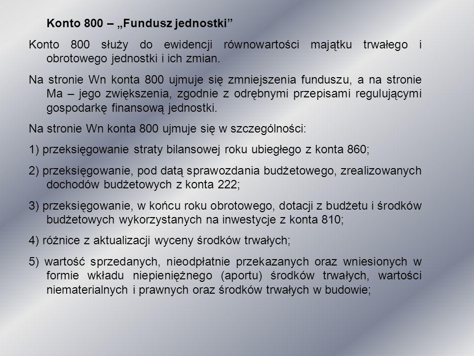 """Konto 800 – """"Fundusz jednostki"""