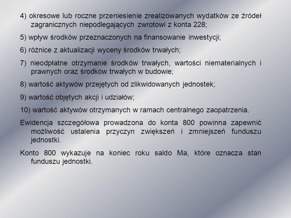 4) okresowe lub roczne przeniesienie zrealizowanych wydatków ze źródeł zagranicznych niepodlegających zwrotowi z konta 228;