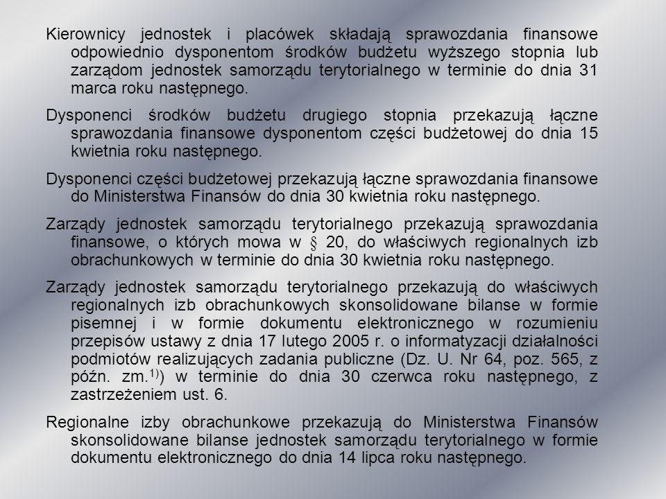 Kierownicy jednostek i placówek składają sprawozdania finansowe odpowiednio dysponentom środków budżetu wyższego stopnia lub zarządom jednostek samorządu terytorialnego w terminie do dnia 31 marca roku następnego.