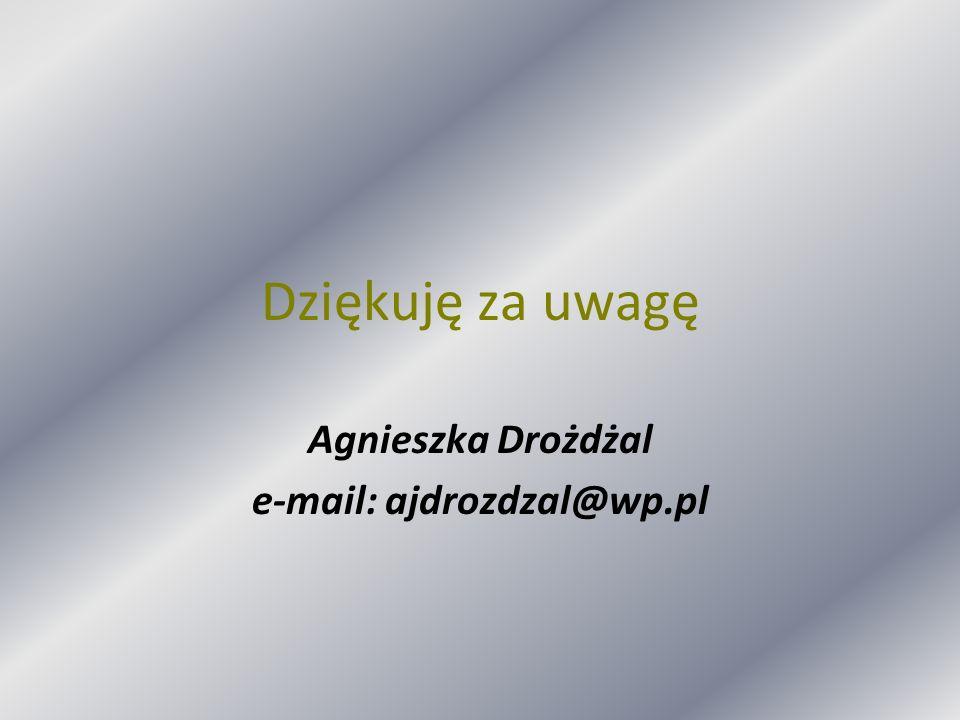 Agnieszka Drożdżal e-mail: ajdrozdzal@wp.pl