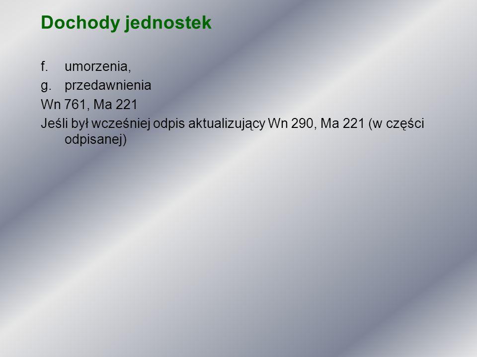 Dochody jednostek umorzenia, przedawnienia Wn 761, Ma 221