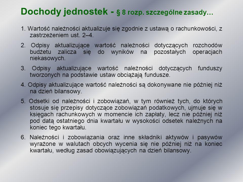 Dochody jednostek - § 8 rozp. szczególne zasady…