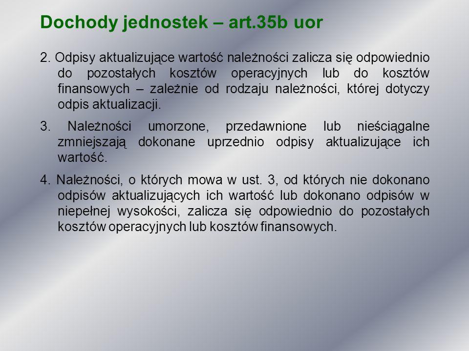 Dochody jednostek – art.35b uor