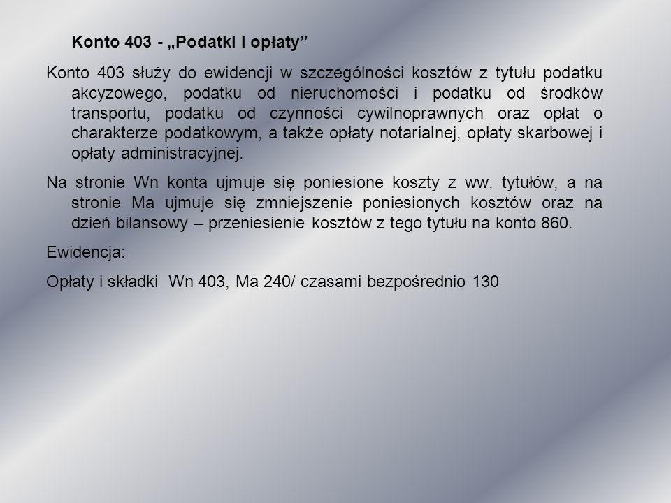 """Konto 403 - """"Podatki i opłaty"""