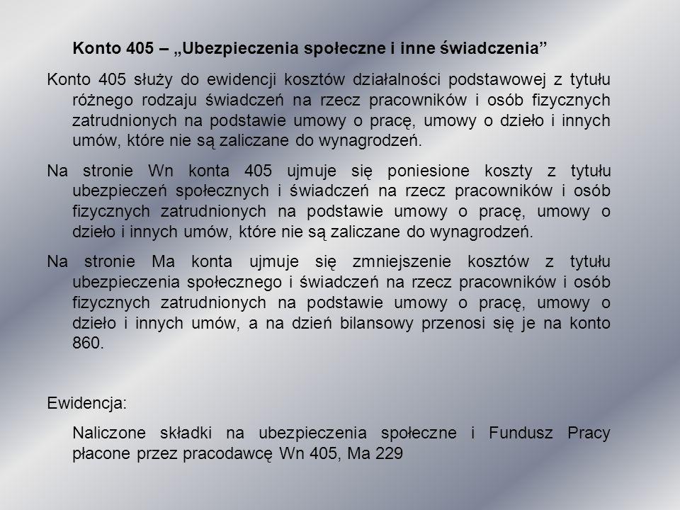 """Konto 405 – """"Ubezpieczenia społeczne i inne świadczenia"""