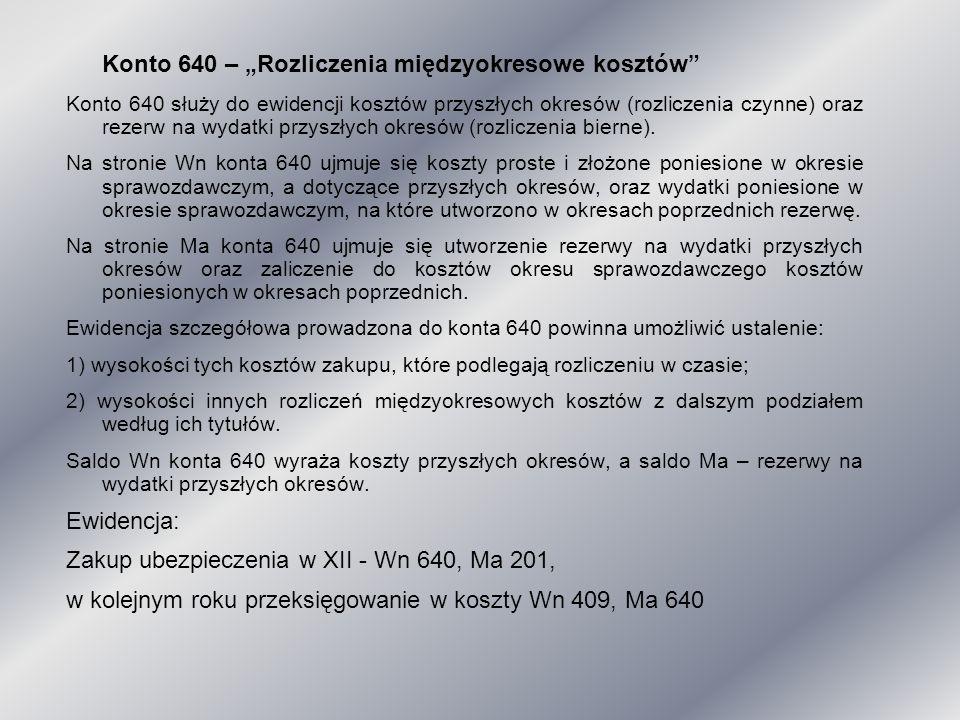 """Konto 640 – """"Rozliczenia międzyokresowe kosztów"""