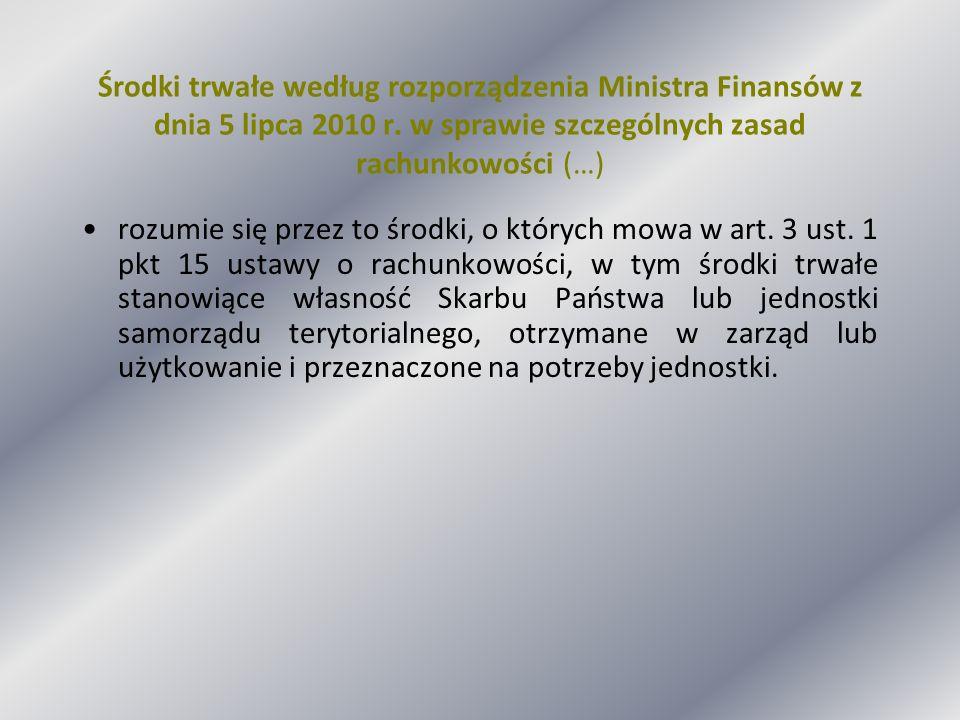 Środki trwałe według rozporządzenia Ministra Finansów z dnia 5 lipca 2010 r. w sprawie szczególnych zasad rachunkowości (…)