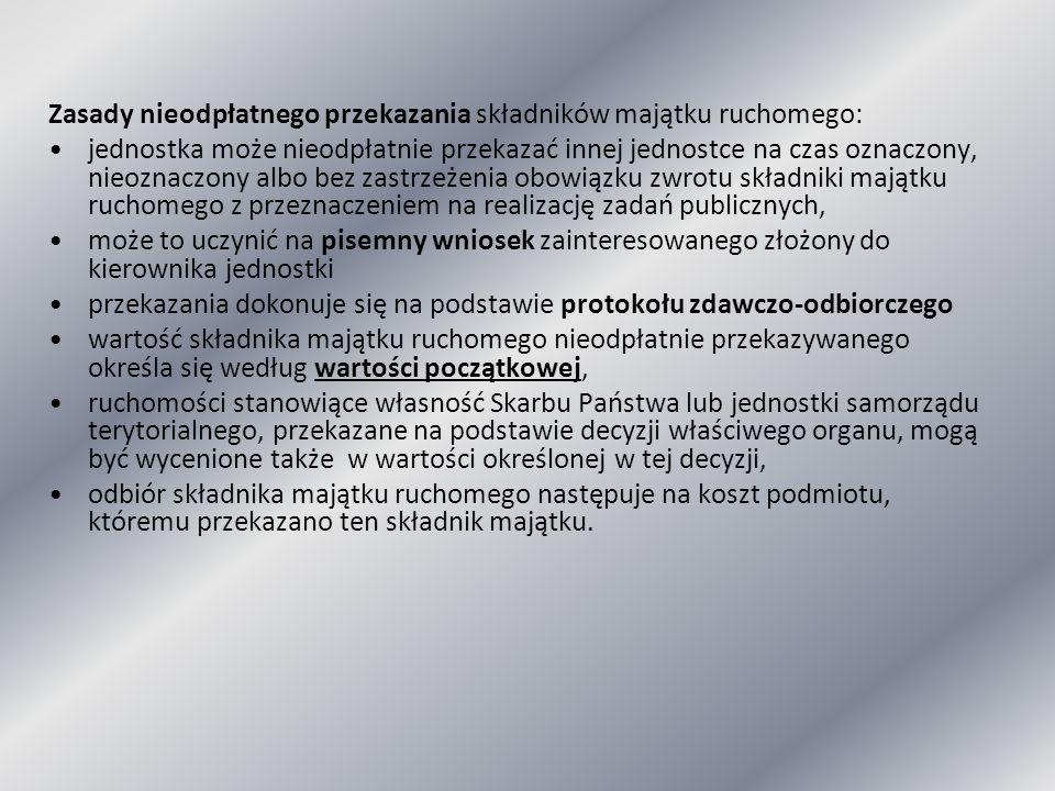 Zasady nieodpłatnego przekazania składników majątku ruchomego: