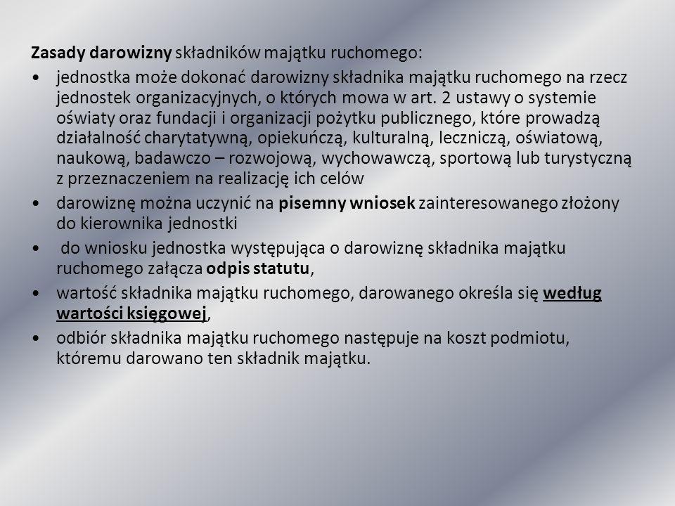 Zasady darowizny składników majątku ruchomego: