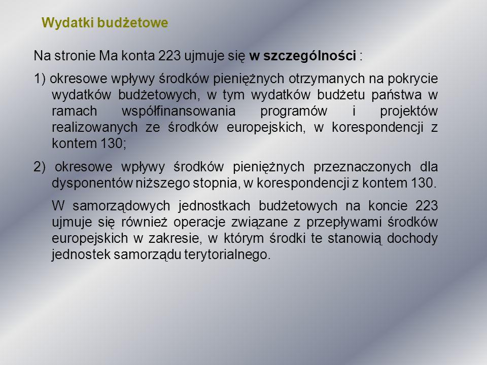 Wydatki budżetowe Na stronie Ma konta 223 ujmuje się w szczególności :