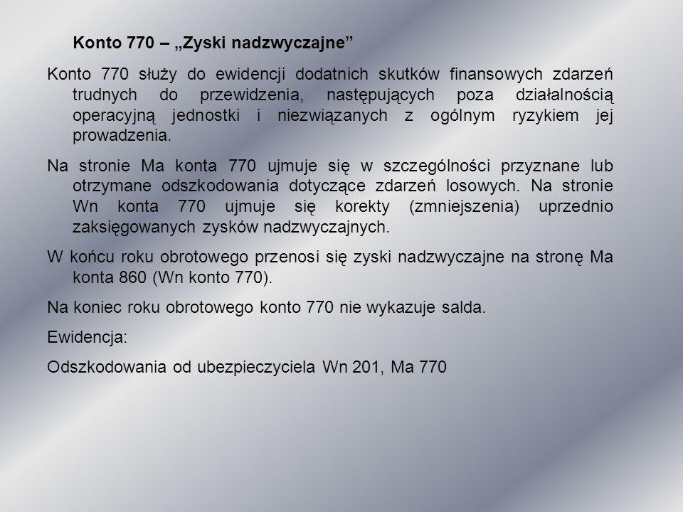 """Konto 770 – """"Zyski nadzwyczajne"""