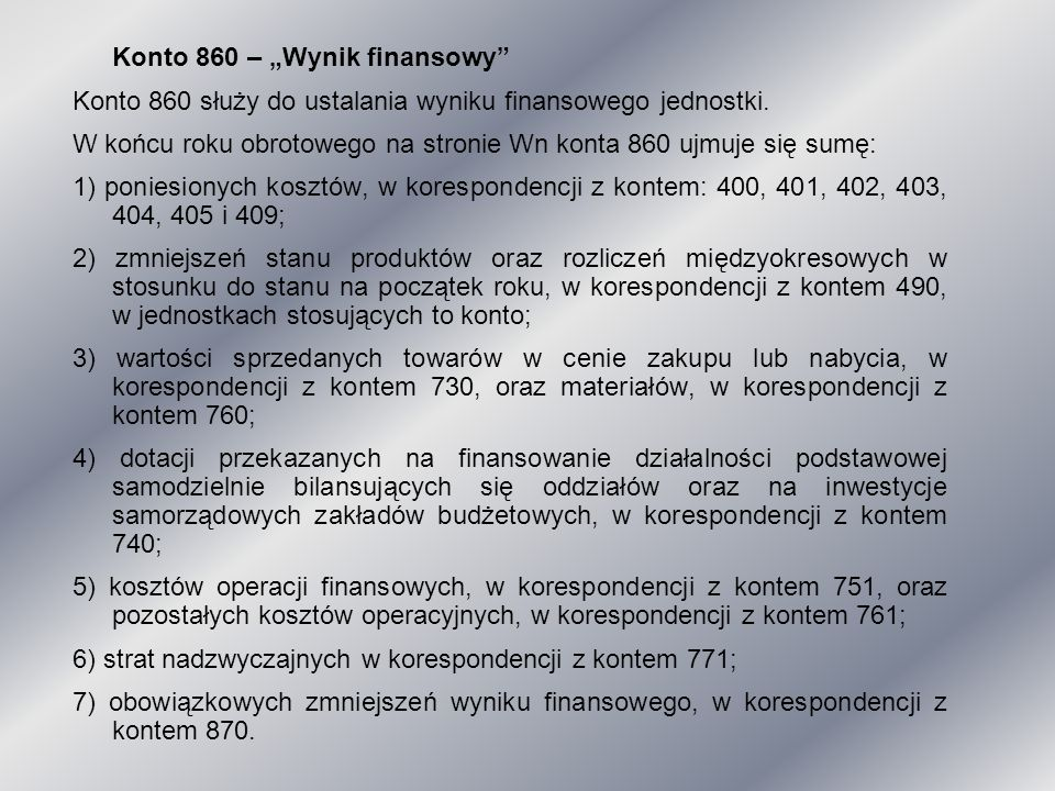 """Konto 860 – """"Wynik finansowy"""