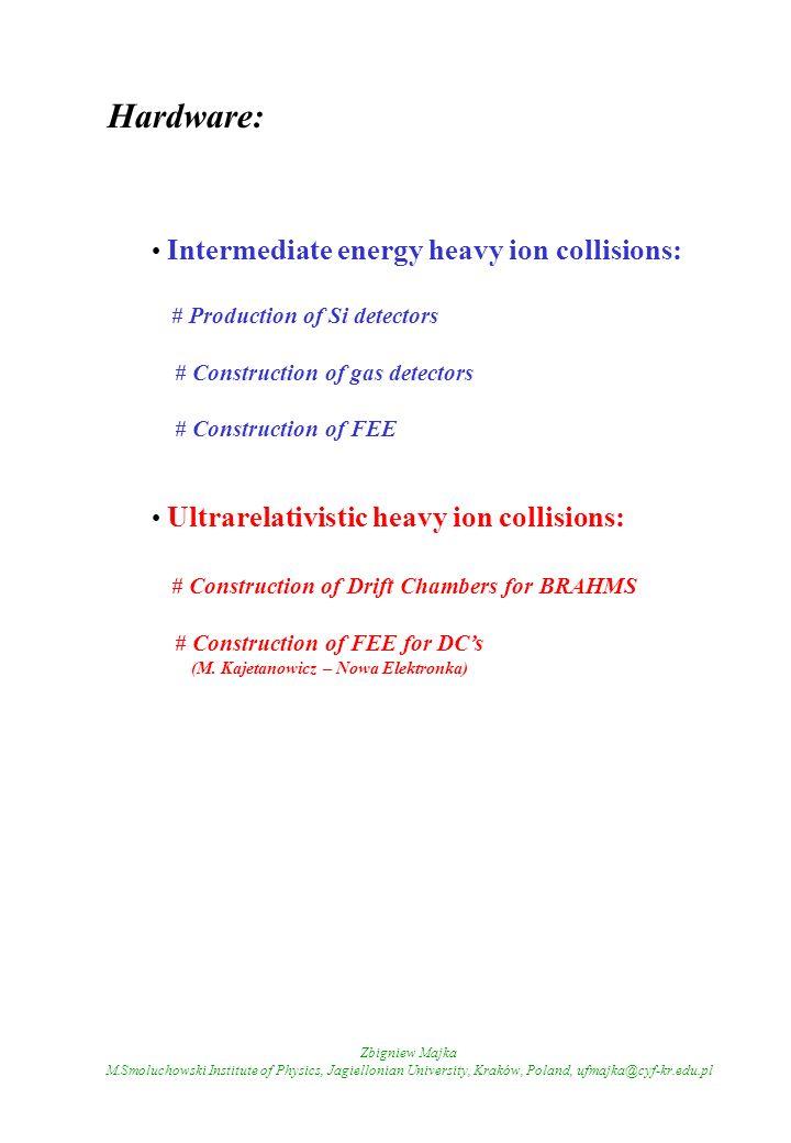 Hardware: Intermediate energy heavy ion collisions: