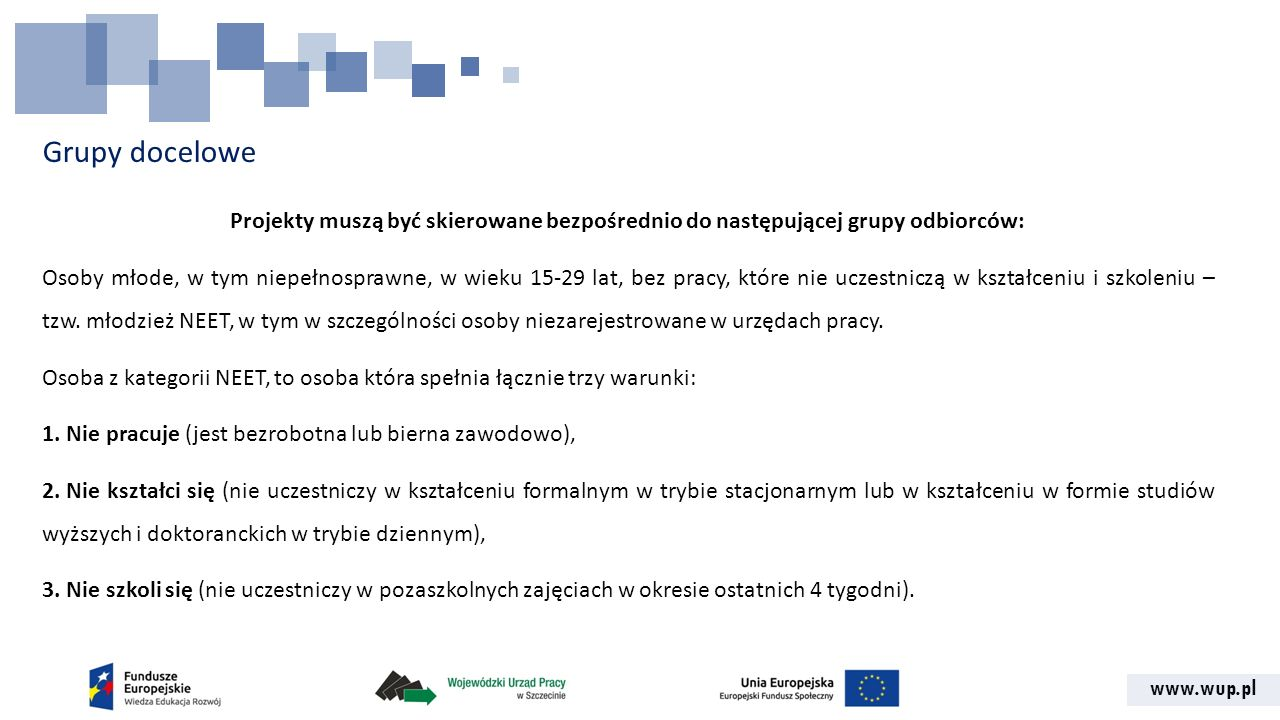 Grupy docelowe Projekty muszą być skierowane bezpośrednio do następującej grupy odbiorców: