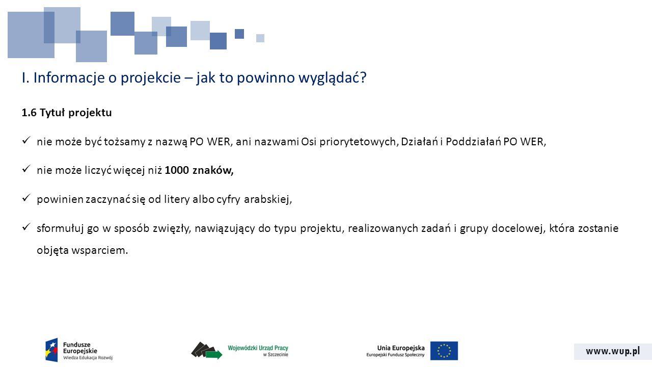 I. Informacje o projekcie – jak to powinno wyglądać