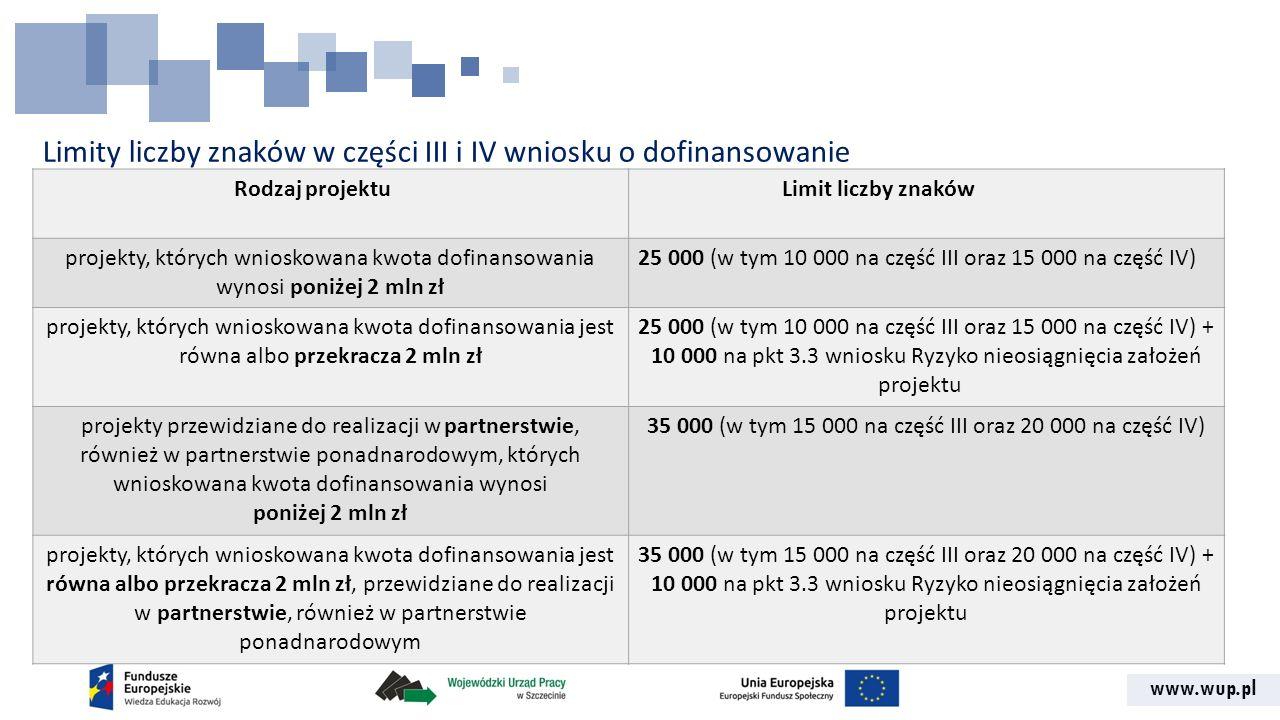 Limity liczby znaków w części III i IV wniosku o dofinansowanie