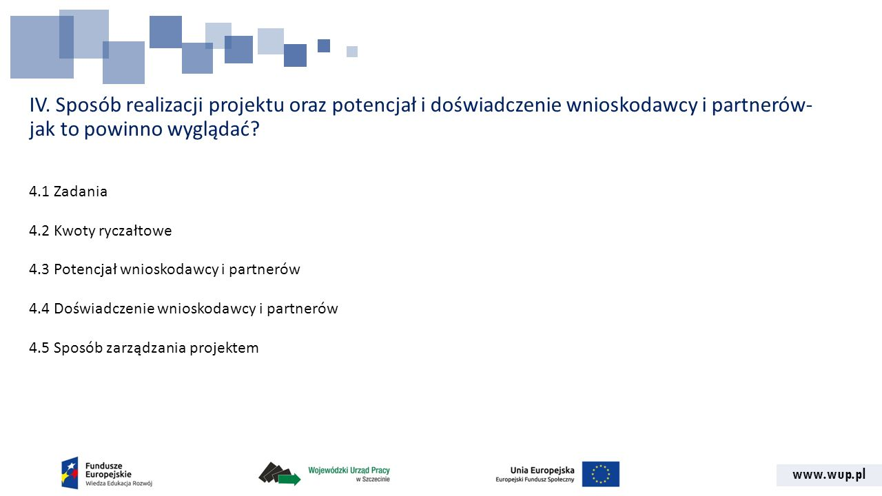 IV. Sposób realizacji projektu oraz potencjał i doświadczenie wnioskodawcy i partnerów- jak to powinno wyglądać