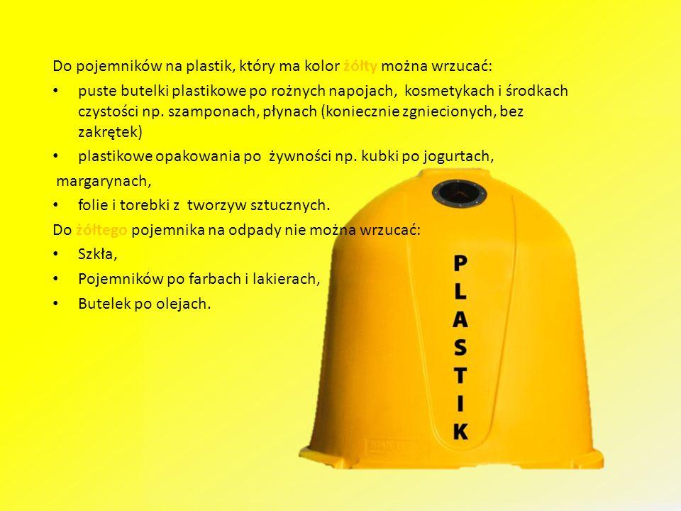 Do pojemników na plastik, który ma kolor żółty można wrzucać: