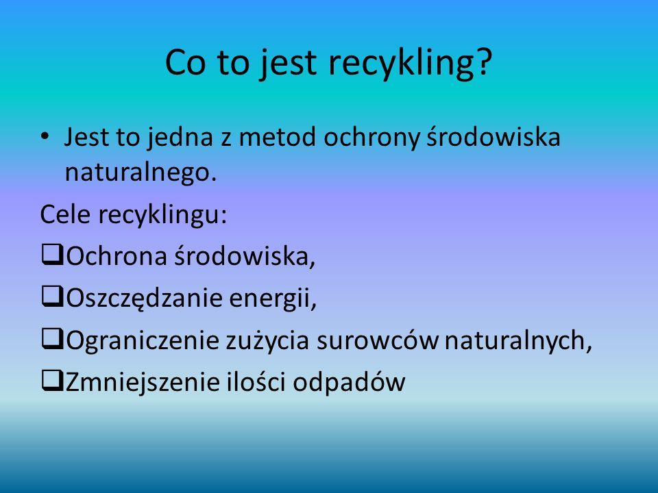 Co to jest recykling Jest to jedna z metod ochrony środowiska naturalnego. Cele recyklingu: Ochrona środowiska,