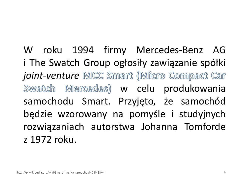 W roku 1994 firmy Mercedes-Benz AG i The Swatch Group ogłosiły zawiązanie spółki joint-venture MCC Smart (Micro Compact Car Swatch Mercedes) w celu produkowania samochodu Smart. Przyjęto, że samochód będzie wzorowany na pomyśle i studyjnych rozwiązaniach autorstwa Johanna Tomforde z 1972 roku.